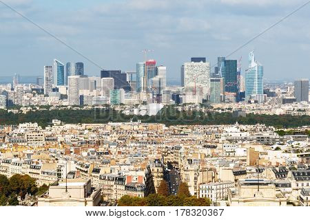 View of La Defense from the Eiffel Tower in Paris France