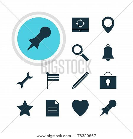 Vector Illustration Of 12 Web Icons. Editable Pack Of Thumbtack, Bookmark, Keyhole And Other Elements.