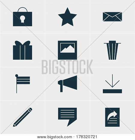 Vector Illustration Of 12 Internet Icons. Editable Pack Of Upload, Keyhole, Pen And Other Elements.