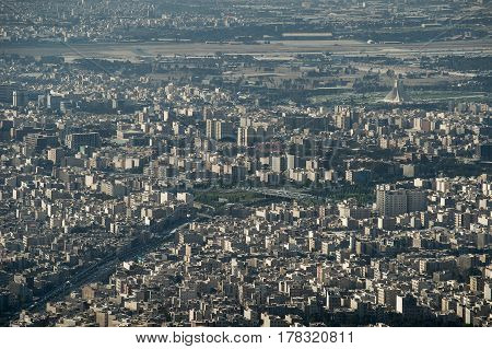 Aerial View of Tehran capital city of Iran
