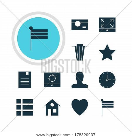 Vector Illustration Of 12 Internet Icons. Editable Pack Of Love, Maximize, Bookmark And Other Elements.