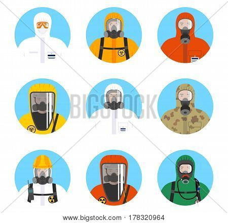 Nuclear industry concept. Set of colorful avatars of workers in differences protective suits in flat style. Vector illustration.