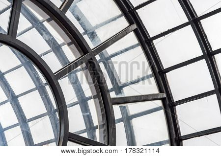 Dome Ceiling With Hexagonal Windows In A Covered Market