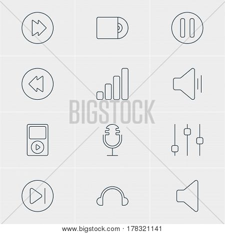Vector Illustration Of 12 Melody Icons. Editable Pack Of Mike, Advanced, Compact Disk And Other Elements.