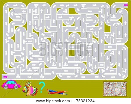 Logic puzzle game with labyrinth. Need to draw the way for car from start till end. Vector image.