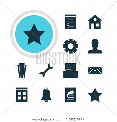 Vector Illustration Of 12 Internet Icons. Editable Pack Of Trash, Date Time, Document Directory And Other Elements.