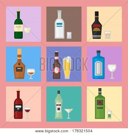 Alcohol drinks beverages cocktail card drink bottle lager refreshment container and menu drunk concept different bottle and glasses vector illustration. Restaurant tequila rum party pub cognac.