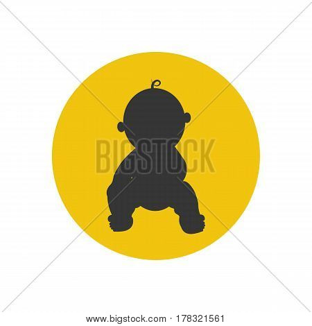 Baby silhouette on the yellow background. Vector illustration