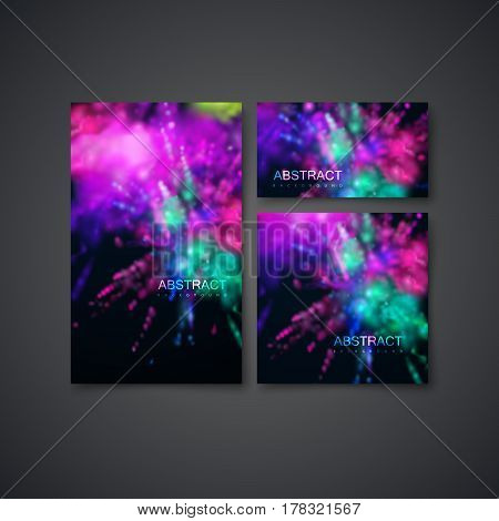 Set of business stationery template. Multicolored explosive clouds of powder dye. Vector art illustration of dusty colorful explosions. Applicable for poster, banner, brochure, card or flyer design