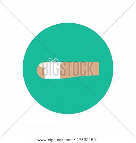 Bandaged wound on the finger on the green background. Vector illustration