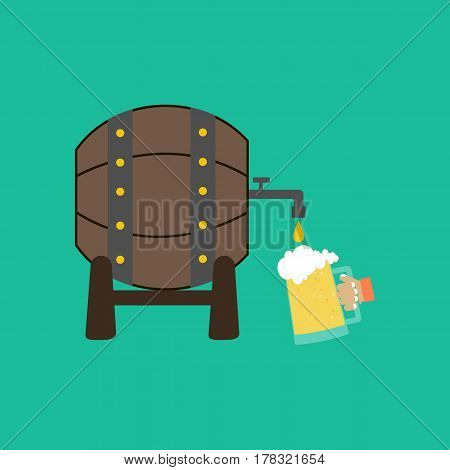 Beer barrel on the green background. Vector illustration