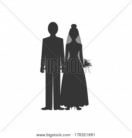 Bride and groom silhouette on the white background. Vector illustration