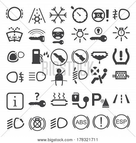 Car dashboard icons on the white background. Vector illustration