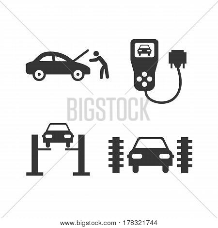 car service icons on the white background. Vector illustration