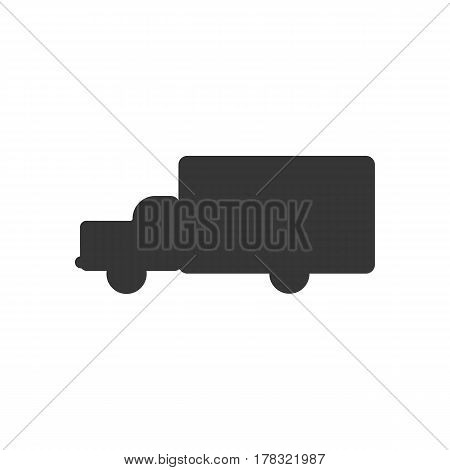 Delivery car silhouette on the white background. Vector illustration