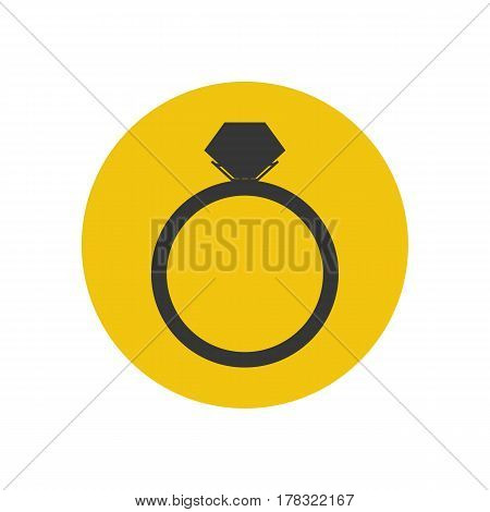 Engagement ring silhouette on the yellow background. Vector illustration