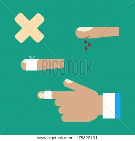 First aid for a cut on the green background. Vector illustration