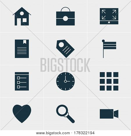 Vector Illustration Of 12 Web Icons. Editable Pack Of Bookmark, Maximize, Map Marker And Other Elements.
