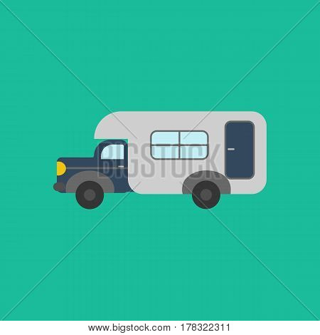 House on wheels trailer on the green background. Vector illustration