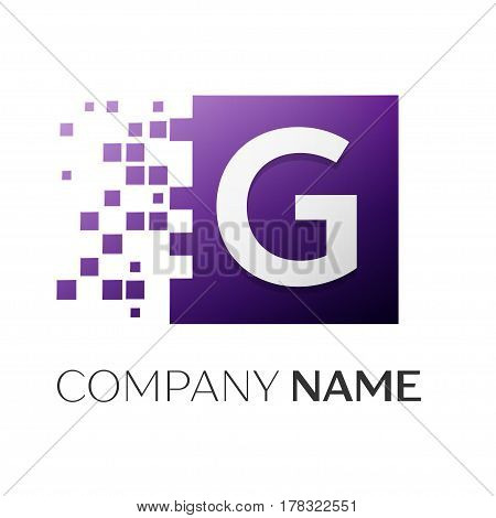 Letter G vector logo symbol in the colorful square with shattered blocks on white background. Vector template for your design