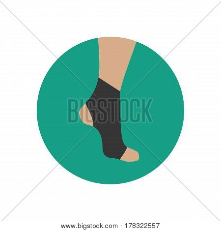 Neoprene brace on the ankle on the green background. Vector illustration