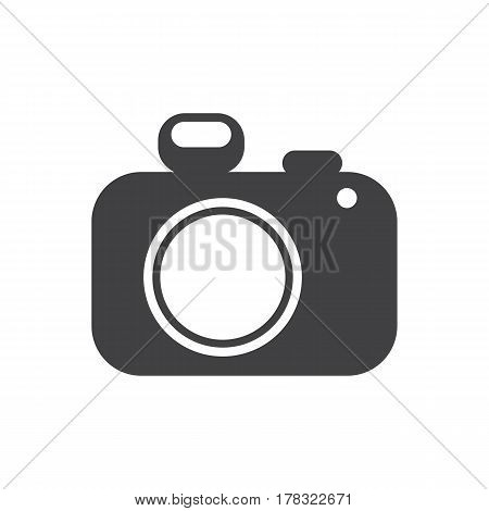 photo camera icon on the white background. Vector illustration