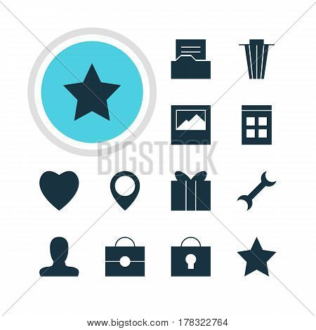 Vector Illustration Of 12 Online Icons. Editable Pack Of Portfolio, Document Directory, Settings And Other Elements.