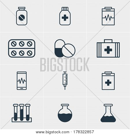 Vector Illustration Of 12 Medical Icons. Editable Pack Of Antibiotic, Phone Monitor, Aspirin And Other Elements.