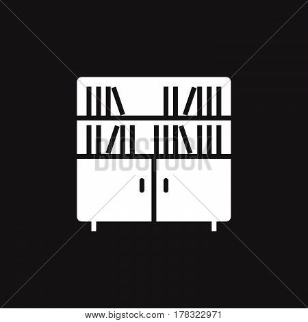 Bookcase icon vector solid flat sign pictogram isolated on black logo illustration