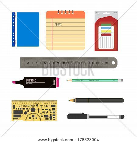 stationery set on the white background. Vector illustration