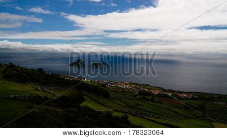 Sea view to Cabras islet near Terceira island, Azores, Portugal