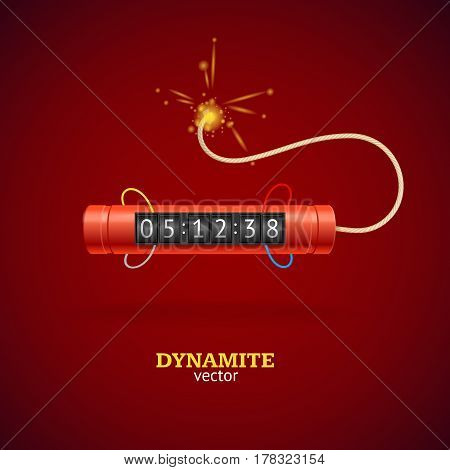Detonate Dynamite Bomb Stick and Timer Clock on Red Background Symbol of Danger. Vector illustration