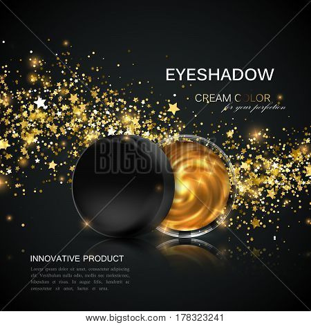 Beauty eye shadows or cheek blush ad. Cosmetics package design. Vector illustration. Glamorous golden cream eyeshadows jar with glittering wave. Product package mock-up for fashion magazine design