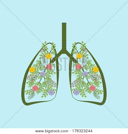 Trees are the lungs of the earth on the blue background. Vector illustration
