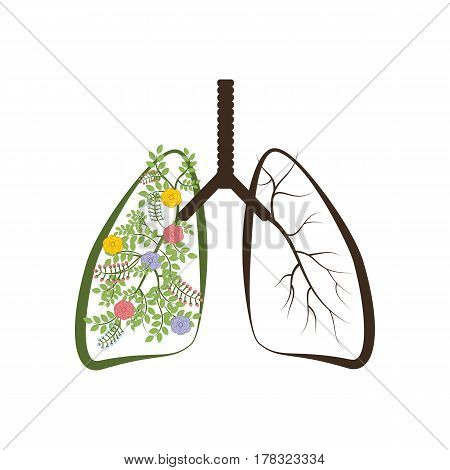 Trees are the lungs of the earth on the white background. Vector illustration