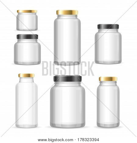 Realistic Empty Glass Jar Can Set for Conservation Food, Jam, Juicy and Sauce. Vector illustration