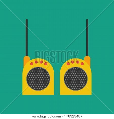 Walkie-talkie on the green background. Vector illustration