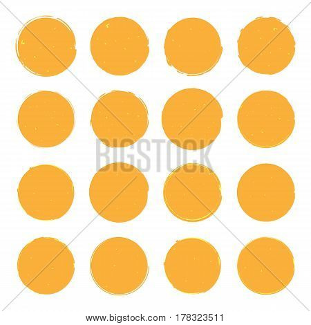 Vector illustrations of sixteen different golden grandee round shapes suitable for creating icons.