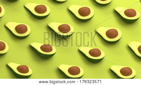 Avocado collection on a green background 3d illustration