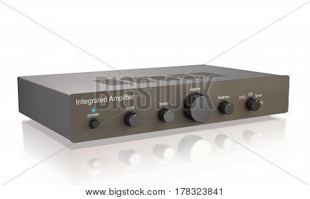 Audio integrated power amplifier on white background (3d illustration)