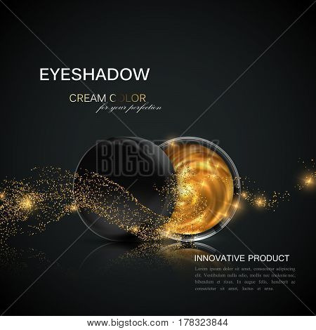 Beauty eye shadows or blusher ad. Cosmetic package design. 3d vector illustration. Glamorous golden eyeshadows or cheek blush jar with golden glitter wave. Product package mock-up for fashion magazine