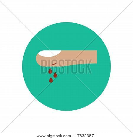 Wound on the finger on the green background. Vector illustration
