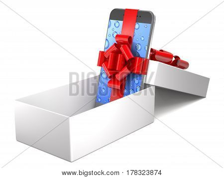 Gift mobile phone with red ribbon in box on white background (3d illustration).