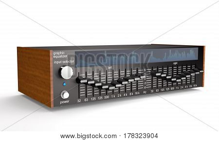 Sound octave equalizer with analyzer on white background (3d illustration)