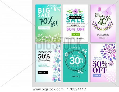 Mobile sale banner templates. Spring sale banners. Vector illustrations of online shopping website and mobile website banners, posters, newsletter designs, ads, coupons, social media banners.