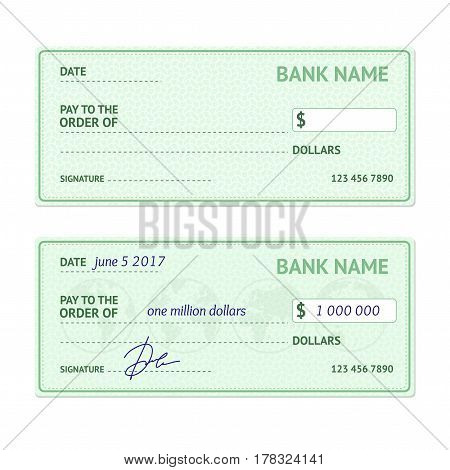 Template Blank Classic Bank Check Business Payment Concept for Shopping and Investment. Vector illustration