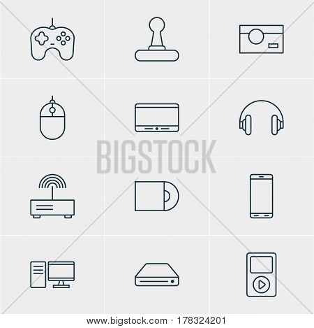 Vector Illustration Of 12 Accessory Icons. Editable Pack Of Media Controller, Joypad, Smartphone And Other Elements.