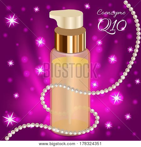 Blank gold cosmetic package collection isolated on violet background. Pearle necklace around the bottles. Set of tube for cream, lotion, emulsion, skin oil, mock ups vector illustration