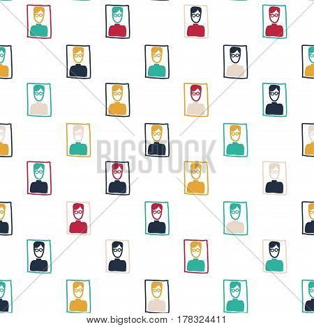 Vector hand drawn seamless pattern with man portraits. Family theme. Colored doodle pattern for textile paper book game cards banner web design.