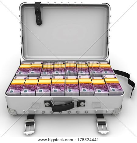 Suitcase full of money. A suitcase filled with bundles of euros. Isolated. 3D Illustration